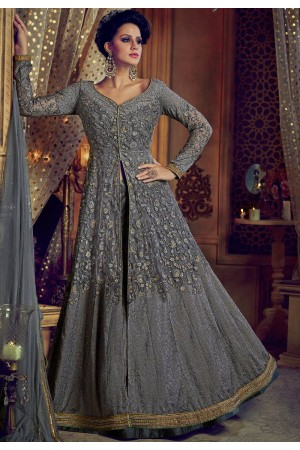 Grey color net and banglori silk party wear Lehenga kameez