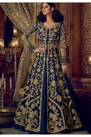Navy blue color banglori silk party wear Lehenga kameez