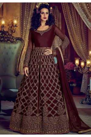 Wine color net and banglori silk party wear Lehenga kameez