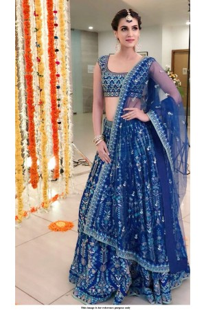 Bollywood Kriti Sanon Royal blue tafetta silk Lehenga choli