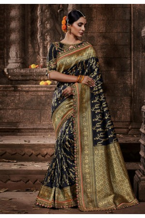 Black banarasi silk festival wear saree 96649