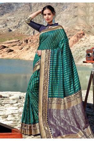 Green banarasi silk festival wear saree 96684
