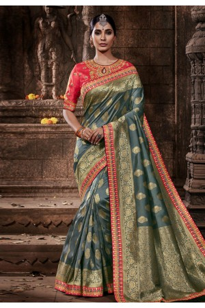 Grey banarasi silk saree with blouse 96652