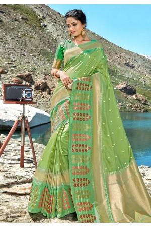 Light green banarasi silk festival wear saree 96682