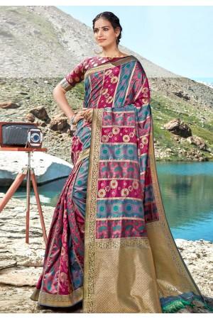 Magenta banarasi silk festival wear saree 96686