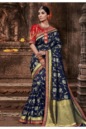 Navy blue banarasi silk festival wear saree 96645