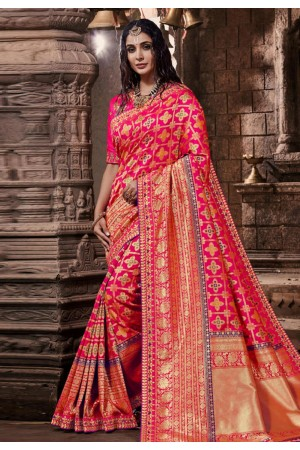 Pink banarasi silk saree with blouse 96644