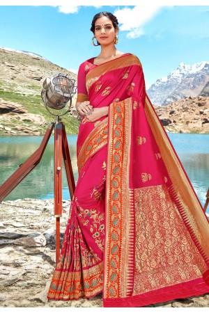 Pink banarasi silk saree with blouse 96683
