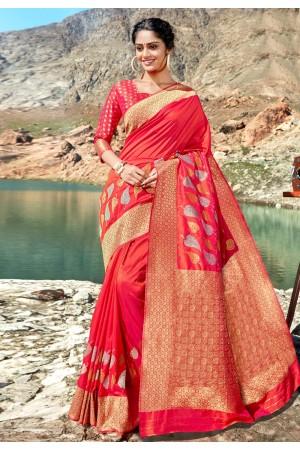 Pink banarasi silk saree with blouse 96685