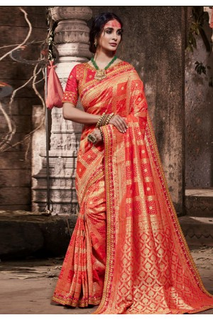 Red banarasi silk saree with blouse 96648