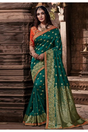 Teal banarasi silk saree with blouse 96650