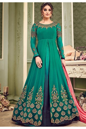 Bottle green and blue shaded geirgette wedding anarkali suit