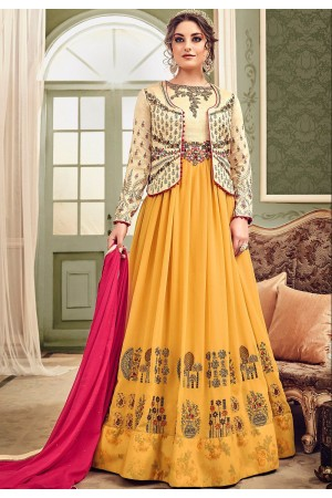 Yellow and cream color Koti style georgette and silk wedding anarkali suit