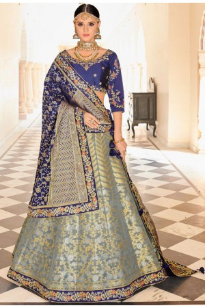 Grey and blue Indian banarasi silk wedding lehenga