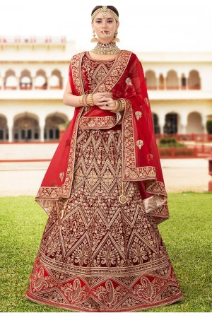 Maroon velvet Indian wedding lehenga