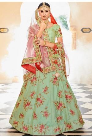 Mint green dolla silk Indian wedding lehenga