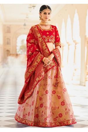 Peach and red banarasi wedding lehenga