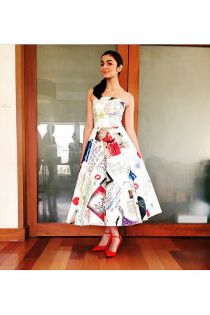 Alia Bhatt Crepe Printed Doodle dress