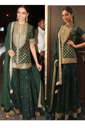 Deepika Padukone Green designer Sharara