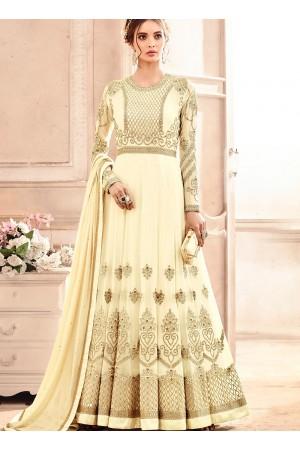 Cream georgette wedding wear salwar kameez