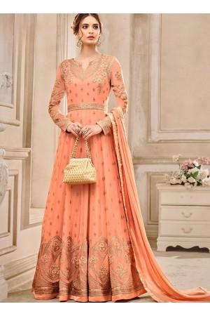 Peach georgette wedding wear salwar kameez