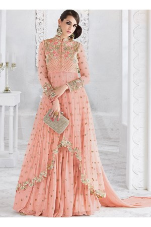 Pink color georgette and net party wear ghaghara 2-in-1 look