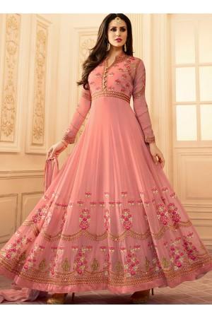 Pink georgette wedding wear salwar kameez