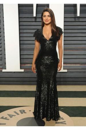 Priyanka Chopra Black Sequins Long Gown
