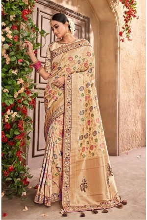 c907a570990 Gold and Cream Banarasi pure silk wedding
