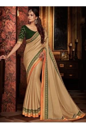 beige saree with silk blouse 1704