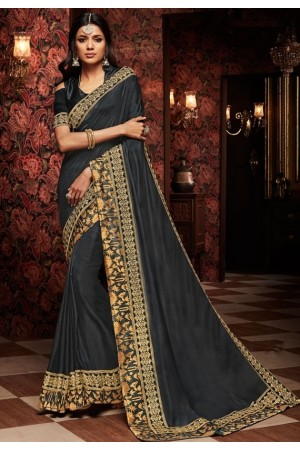 charcoal black saree with silk blouse 1718