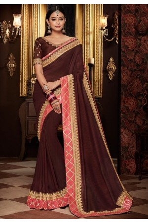 coffee brown saree with silk blouse 1716