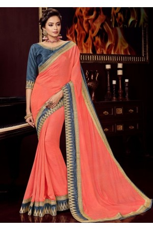 coral peach silk saree with embroidered blouse 10413