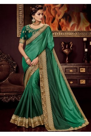green shaded silk saree with embroidered blouse 10416