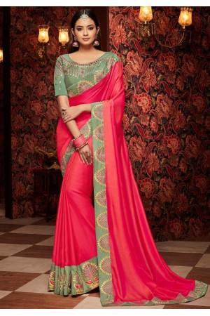 hot pink saree with silk blouse 1702