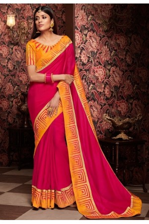 hot rani pink saree with silk blouse 1717