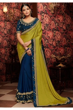 indigo blue and iesaree with silk blouse 1707