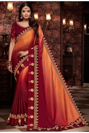 maroon and orange saree with silk blouse 1714