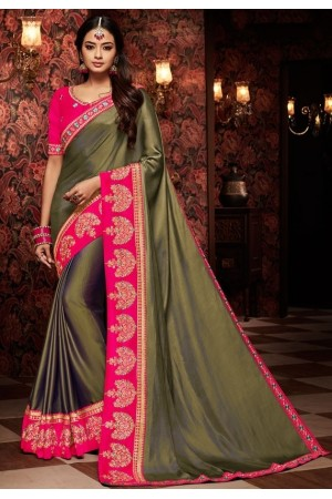mehendi green saree with silk blouse 1709