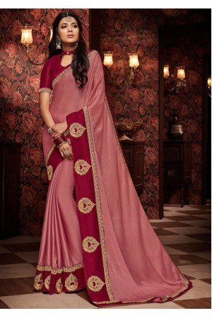 old rose saree with silk blouse 1705
