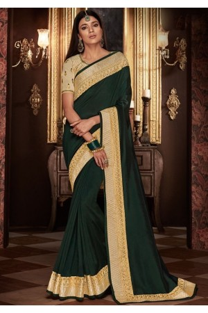 pine green saree with silk blouse 1710