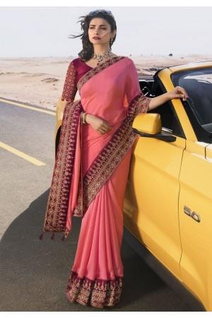prachi desai cherry pink silk saree 20588