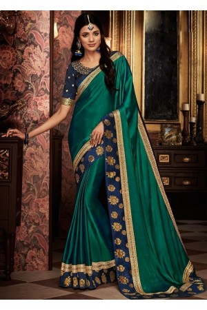 rama green saree with silk blouse 1711