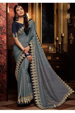 slate grey saree with silk blouse 1715