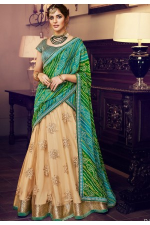 beige green net silk embroidered lehenga choli 4160