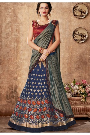 blue maroon silk embroidered lehenga choli 5735