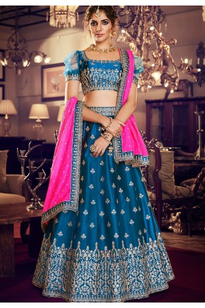 dark blue satin silk embroidered lehenga choli 4159