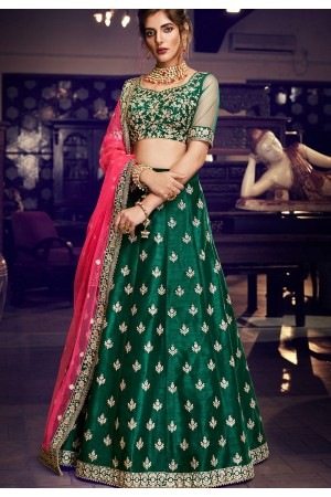 dark green silk embroidered lehenga choli 4161