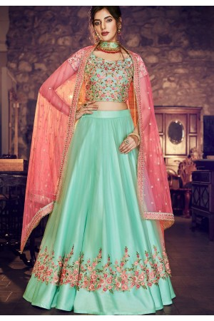 firoji blue satin net embroidered lehenga choli 4158