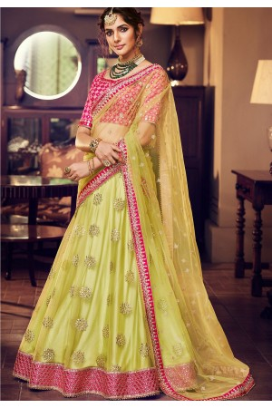 green pink satin silk embroidered lehenga choli 4164